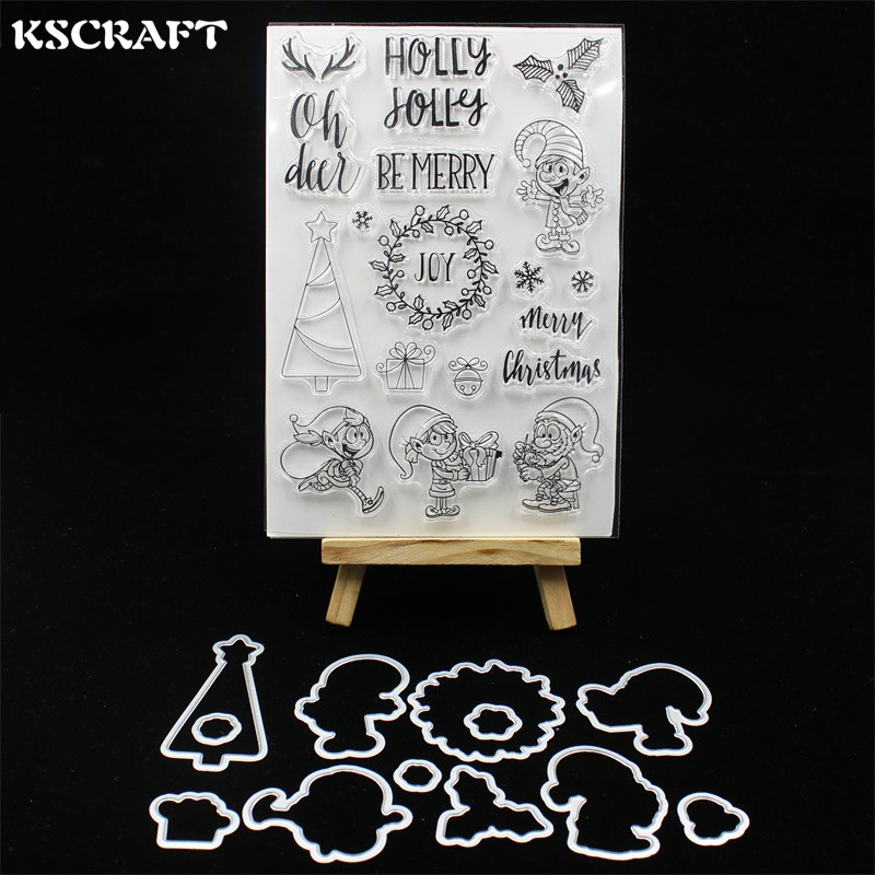 KSCRAFT Merry Christmas Transparent Clear Silicone Stamp Cutting Dies Set for DIY scrapbooking/photo album Decorative