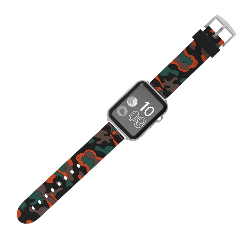 все цены на Sport silicone strap for Apple watch band 4 44mm 40mm 42mm 38mm Camouflage Iwatch series 4 3 2 1 wrist belt bracelet watchband онлайн