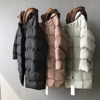 Women Winter Parkas 2019 Solid Zipper Loose Hooded Outwear Medium long Students Cotton padded Warm Coats Wadded Jacket with Hat