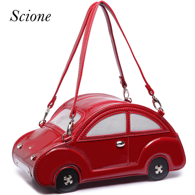 Novelty Handbags Beetle Car Shaped Handbag Women Leather Shoulder Messenger Crossbody Bag Travel Ping Tote Funny