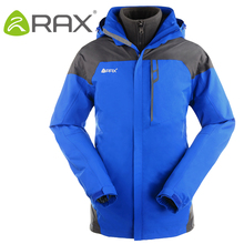 RAX Winter Outdoor Waterproof Jacket Men 3 in 1 Windproof Softshell Jacket Men Outdoor Hiking Jacket Windbreaker Breathable Rain