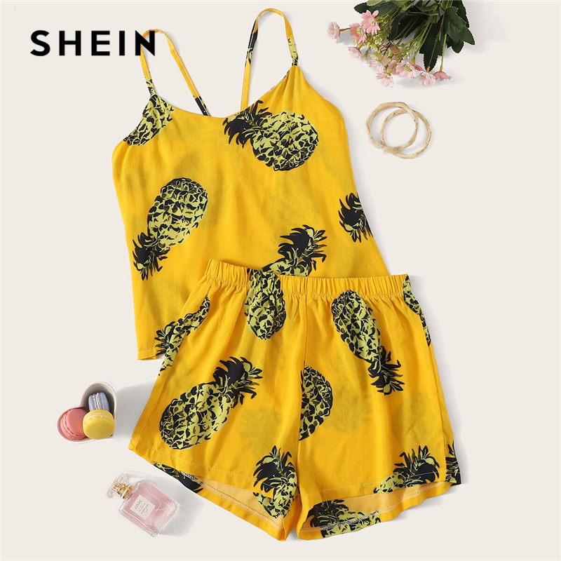 SHEIN Pineapple Fruit Vegetable Print Cami   Pajama     Set   Sleeveless Spaghetti Strap Women Summer 2019 Yellow Nightwear Sleepwear