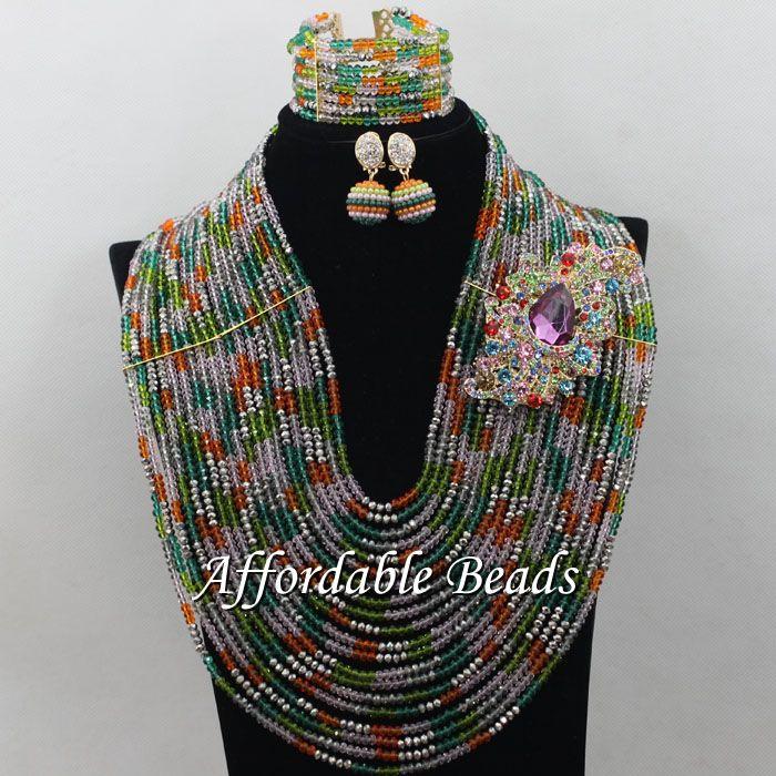 Multicolor Crystal Bridal Set Charming Nigerian Jewelry Set Unique Design Handmade Item ABW140Multicolor Crystal Bridal Set Charming Nigerian Jewelry Set Unique Design Handmade Item ABW140