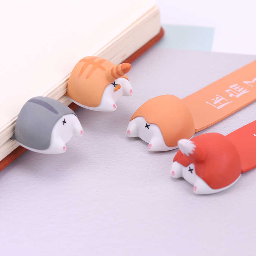 PVC Cute Kawaii Dog Cat Hamster Fox Ass Bookmark for Book Markers Creative Items Lovely Korean Stationery Gift
