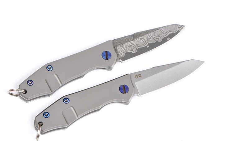 60-61HRC ключ подвесной нож D2 или дамасский нож Титан сплав ручка мини карманный складной нож Открытый Кемпинг EDC инструмент