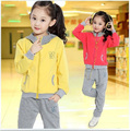 2015 girl clothing new spring children hoodies + pants twinset  kids casual sports suit girls clothing sets & tracksuits