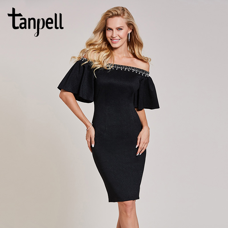 Tanpell off the shoulder cocktail dress black half sleeves knee length sheath gown women bead homecoming