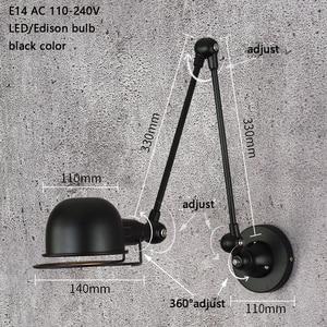 Image 2 - לופט בציר תעשייתי jielde ארוך זרוע מתכוונן מנורת קיר זכרונות נשלף E14 LED קיר אורות לחדר שינה סלון