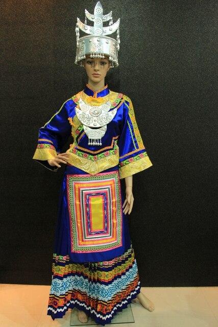 Chinese Folk Dance Costumes Ethnic Minorities Clothing Customize Dark Blue