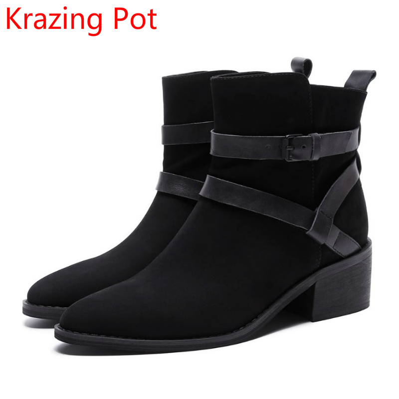 2018 New Arrival Genuine Leather Fashion Winter Boots Round Toe Thick Heel Motorcycle Boots Runway Cowboy Women Ankle Boots L elevator funky full grain genuine leather rub skin color korean new arrival thread bandage round toe safety boots thick soled