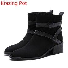 2018 Новое поступление натуральная кожа модные зимние сапоги круглый носок Мотоботы на толстом каблуке для подиума ковбойские женские ботильоны L