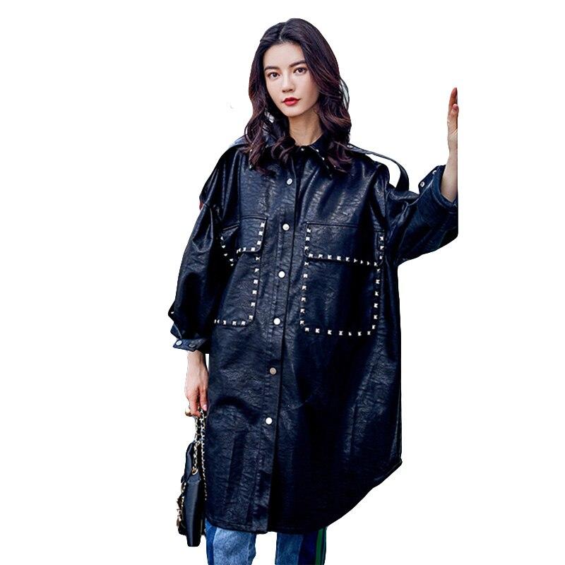 New 2018 Punk Streetwear Womens Leather Jacket Black Rivet Beading Long Basic Motorcycle Jackets Big Size Loose Bomber Jacket
