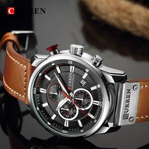 Image 3 - Curren relógio de pulso de couro masculino, relógio digital analógico marca de luxo esportivo do exército relógio militar para homens 8291