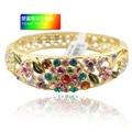 2014 Fashion Gifts 18k gold plated Austrian Crystal Rhinestone Bracelets Cloisonne Enamel Brand Bangle For Womens Hollow Jewelry