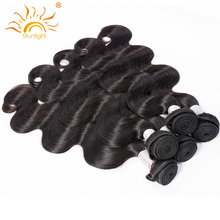 Sunlight Human Hair Peruvian Body Wave Hair Weave Bundles 100% Remy Human Hair 1 piece Hair Extensions 10-28 inch Natural Color