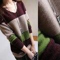 Женские свитера мода 2015 осень зима Sweter кашемир Mujer платья Sueter женщины пуловеры топы полосы лоскутное
