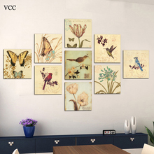 Free shipping canvas painting wall pictures 9panels art Birds and Flowers home decor Modern animal Huge Pictures