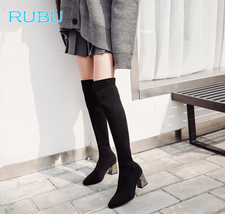 2018 Womens Winter Over The Knee Tight High Stretch Boots Female Chunky High Heel Stocking Ridding Boots Shoes 2018 boots womens winter over the knee tight high stretch female chunky high heel stocking shoes