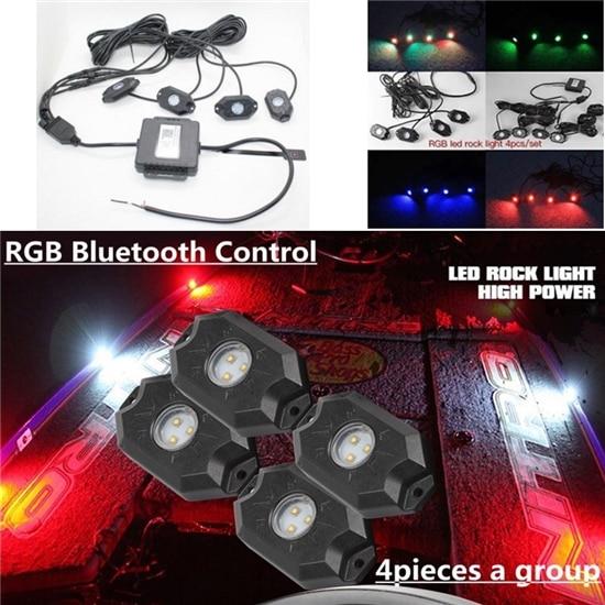 Водонепроницаемый с дороги вел рок свет комплект - 4 светодиодные рок огни RGB для бездорожья светодиодные рок огни 12V 9W светодиодные рок свет