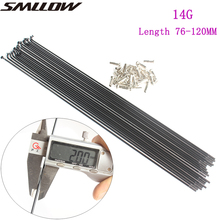 SMLLOW Bicycle Spokes 18PCS/lot 45# Steel MTB Road Electric bike 14G 76mm - 120mm 45# Steel Spoke Cap Bicycle 2.0MM customized made spoke radius knitting needle stainless steel 13g silver bicycle electric bike copper nipple