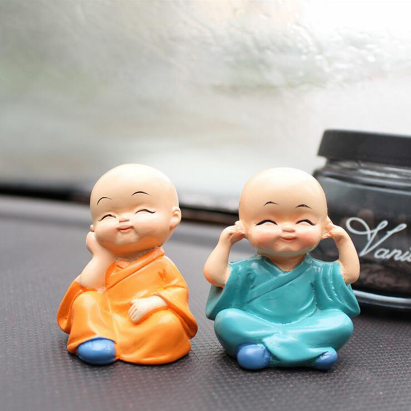 4Pcs Car Ornament Four Small Cute Monk Car Interior Display Car Decoration Auto Interior Accessories Home Cute Decorative Doll in Ornaments from Automobiles Motorcycles