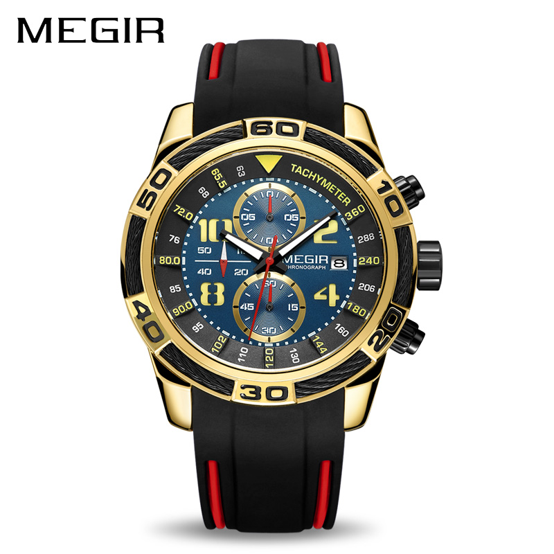 MEGIR Silicone Sport Watch Men Relogio Masculino Top Brand Luxury Chronograph Army Military Watches Clock Men Quartz Wristwatch megir men sport watch waterproof chronograph silicone strap quartz army military watches clock luxury male relogio masculino