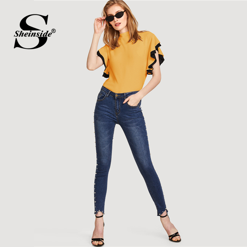 a2b9dbb5cbea Sheinside Yellow Ruffle Office Ladies Casual Blouse Women Workwear Plain  Stand Collar Short Sleeve Top Women Summer Blouses -in Blouses   Shirts  from ...
