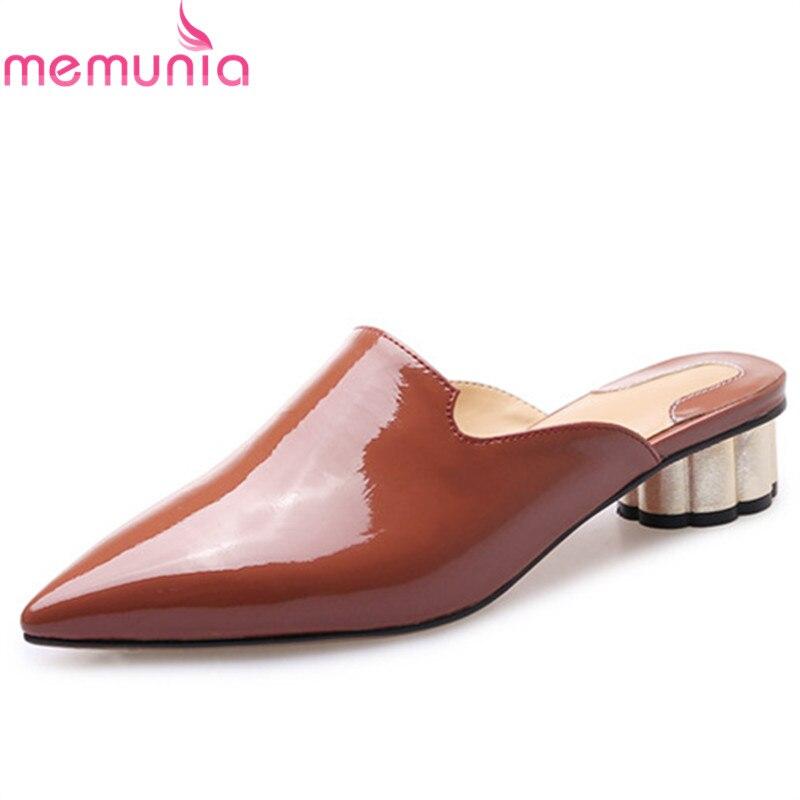 MEMUNIA 2019 nouveauté femmes pompes solide couleurs chaussures en cuir véritable bout pointu été mules chaussures femme fête chaussures-in Escarpins femme from Chaussures    1