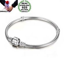 OMHXZJ Wholesale Personality Fashion OL Woman Girl Party Wedding Gift Silver Simple Chain 925 Sterling Bracelet BR99