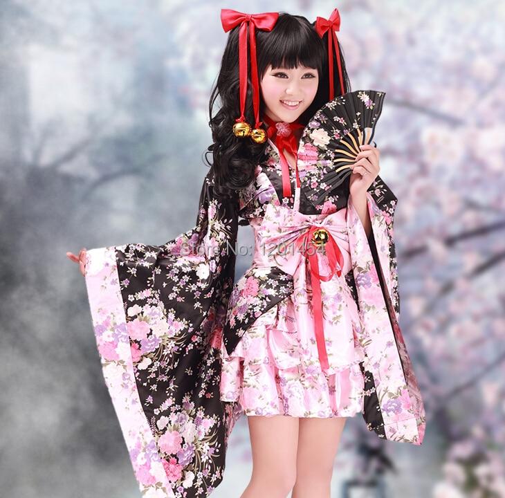 Free Shipping Cherry Blossoms Women Traditional Japanese Kimono Lolita Dress Cosplay Costume 2 colors