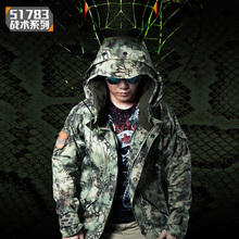 Men s Winter Softshell Faux Fleece Lining Mens Soft Shell Windbreaker Military Python Snake Camouflage Tactical