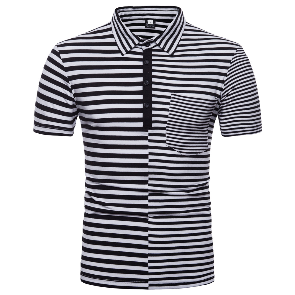 New Men's European Code Striped Stitched Short Sleeve   POLO   Shirt