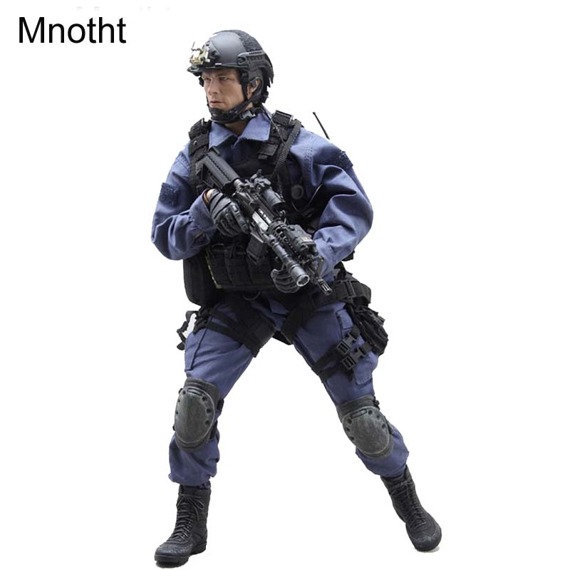 Mnotht 16 VH1026 SWAT 2.0 Solider Model Suit Clothes W/ Blue Coat Pants Helmet Shoes Kneepad For 12in Male Solider Body Model l3 mnotht 1 6 male solider swat sniper suit