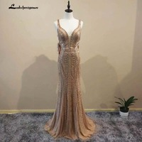 2018 Robe De Soiree V Neck Mermaid Evening Party Dress Gold color Party Occasion Formal Long Evening Gown L043
