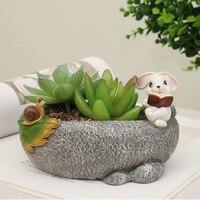 Creative Cute Cartoon Succulent PlanterResin Flower Pot Mini Bonsai Green Cactus Flowerpot Desktop Outdoor Courtyard Home Decor