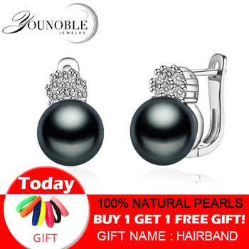 925 sterling silver earrings with pearl,real black natural freshwater pearl earrings women,clip on earrings