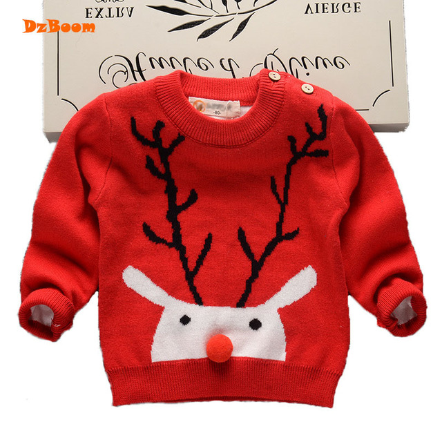ccec61f37 boys christmas sweater deer red girl baby kids cartoon 2018 spring ...