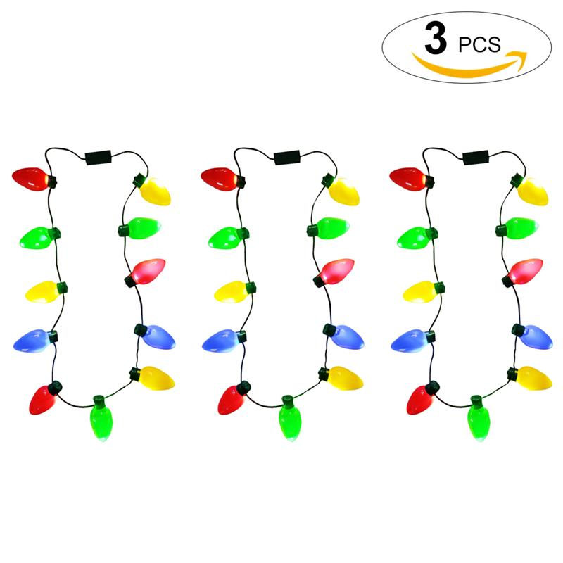3Pcs Christmas Necklace Lights 12 LED Bulb Party Necklace Lights Necklace String Lights Flashing Necklaces