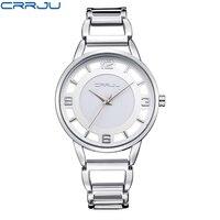 CRRJU Luxury Brand Fashion Gold Woman Bracelet Watch Women Full Steel Quartz Watch Clock Ladies Dress