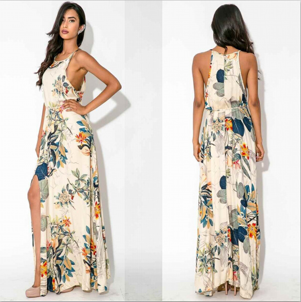 e76e09d9a24 2016 Summer Style Floral Print Maxi Dresses Women Casual Loose Sleeveless  O-Neck Long Sexy Beach Dresses Plus Size WS077