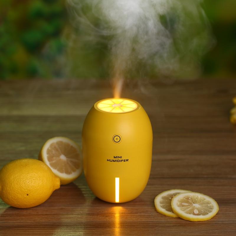 New 180ML Lemon Mini USB Portable Ultrasonic Humidifier DC 5V LED Light Air Purifier Mist Maker For Home Office Car