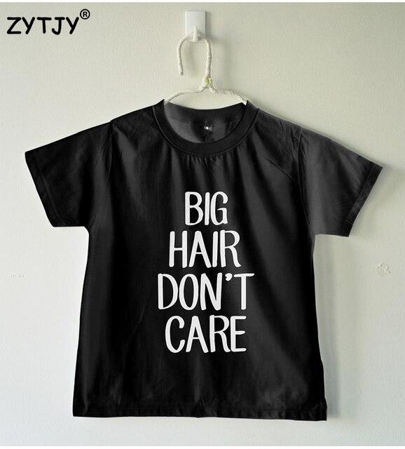 739ea74cd Pelo grande no cuida las letras imprimen camiseta niño niña camisa casual  niños niño ropa Funny