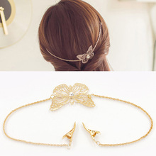 Gold Metal Leaf Butterfly Hairgrip Chain Jewelry Wedding Hairpins Headband Bride Hair Clips Accessories hair stick