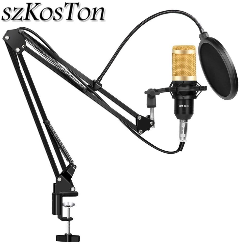Bm 800 pacote de microfone estúdio phantom potência condensador karaoke microfone bm800 pop filtro para gravação transmissão computador