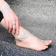 2016 Europe Fashion Shiny Rhinestone Crystal Barefoot Sandals Bridal Anklet /Bracelet Beach Foot Jewelry For Women Ladies