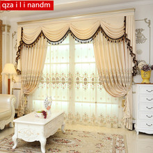 European luxury purple curtains for living room royal high-grade embroidered bedroom villa blinds blackout