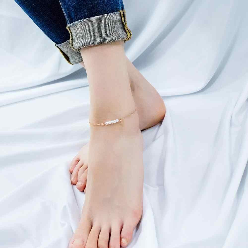 Rose Gold สี Star Pearl Anklets สำหรับ Charm ผู้หญิงสแตนเลสสุภาพสตรีฤดูร้อนเครื่องประดับของขวัญ Dropshipping