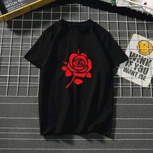 Red Rose women tshirt fashion cotton Clothes Summer Ladies for T shirts flower Graphic Ulzzang Top Tee Female black/white tops(China)