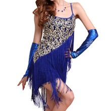 Women Sexy Flapper Sequined Fringed Dance Dress Ladies Rumba Latin Dress Large Size Dress Party Dresses Vestidos Solid