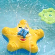 1pcs Baby Bath Toy Water Squirter Splash Spray Starfish Rotate Infant Interactive Education Bathroom Tub Doll For Kid Children(China)